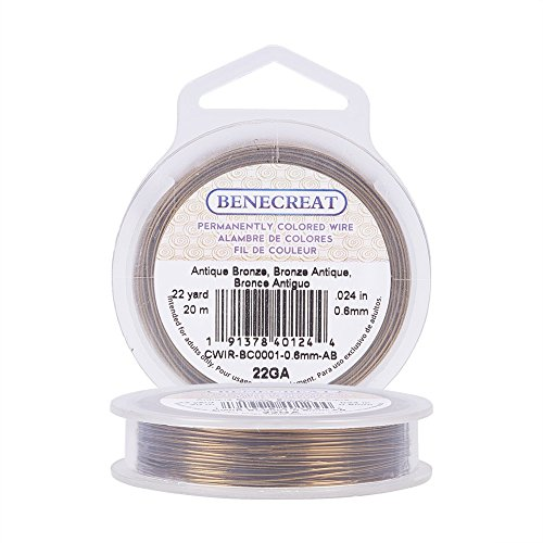 BENECREAT 22-Gauge Tarnish Resistant Antique Bronze Wire, 66-Feet/22-Yard