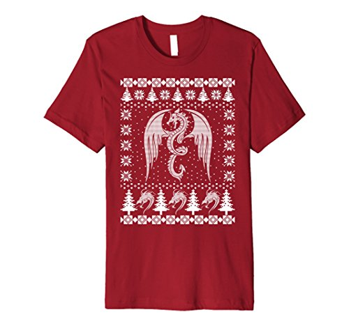 Mens Dragon Ugly Christmas Sweater Premium T-Shirt