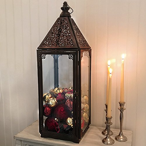 Whole House Worlds The French Country Style Hurricane Candle Lantern, Tempered Glass, Detailed Chateaux Roof, Knob Top, Loop Hanger, Sturdy, Rustic Iron, Over 2 1/2 Ft Tall, By