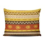 Fanaing Bedroom Custom Decor Africa Ethnic Pattern Brown Orange Yellow Pillowcase Soft Zippered Red Throw Pillow Cover Cushion Case Fashion Design One-Side Printed Standard 20x26 Inches