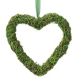 """Lillian Rose DE605 5"""" Moss Hanging Heart Wedding Décor 5"""" Decor, Green"""