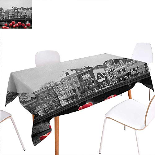 Warm Family Black and White Dinning Tabletop Decoration Monochrome Photo of Amsterdam Canal with Red Tulips and Houses Table Cover for Kitchen 52