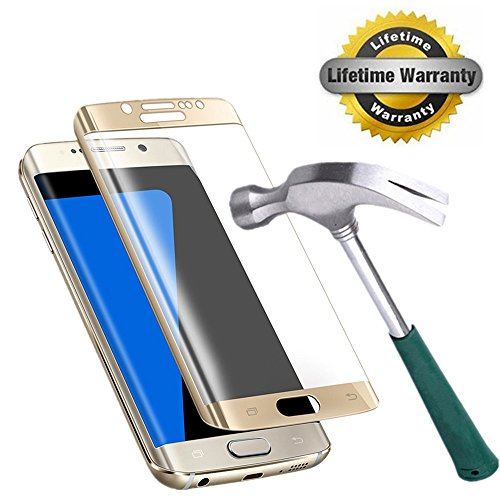 Galaxy S7 Edge Screen Protector, KAMII [Full Coverage] 3D Curved Tempered Glass Anti-Scratch Bubble Free Ultra Thin HD Clear 9H Hardness Screen Protector for Samsung Galaxy S7 Edge (Golden 1Pack)