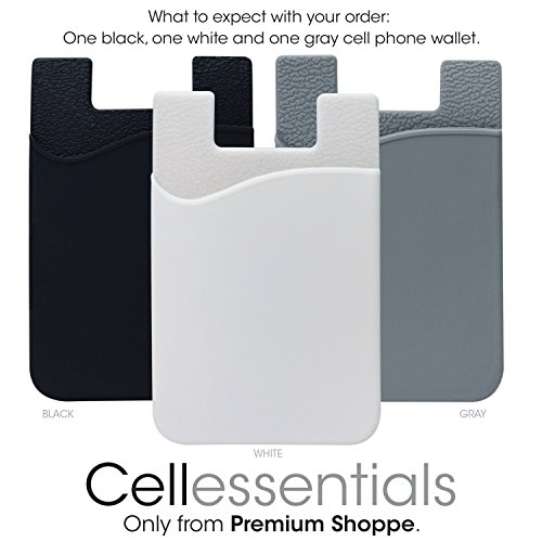 Cell Phone Wallet by Cellessentials: (For Credit Card & Id) | Works with almost every phone | Iphone, Android & Most Smartphones | 3 Pc Pack (Black, White, Grey)