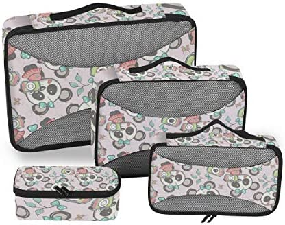 ピンクのかわいいパンダ荷物パッキングキューブオーガナイザートイレタリーランドリーストレージバッグポーチパックキューブ4さまざまなサイズセットトラベルキッズレディース