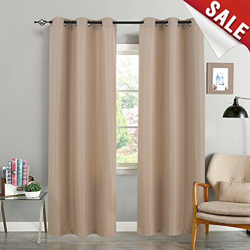 (Room Darkening Curtains for Bedroom Grommet Top Privacy Waffle Woven Textured Window Curtain Panels for Living Room 84 inches Long, Taupe 2 Panels)