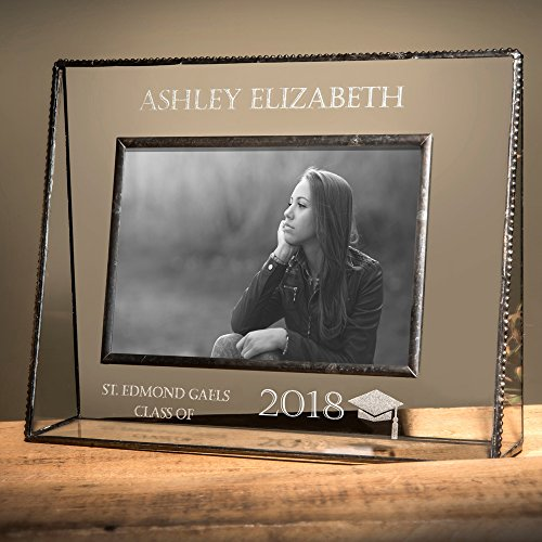 J Devlin Pic 319-57H EP500 Personalized Graduation Picture Frame Engraved Glass Photo Frame Gift for High School or College Graduate Class of 2018 - Engraved Glass Picture Frame