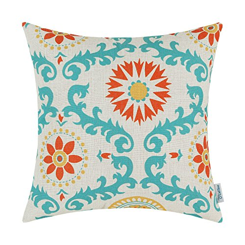 CaliTime Canvas Throw Pillow Cover Case for Couch Sofa Home Decoration Three-Tone Dahlia Floral Compass Geometric 18 X 18 Inches Turquoise/Yellow/Orange Red (Red And Pillows Aqua)