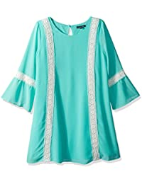My Michelle Big Girls' Shift Dress with Bell Sleeves and...