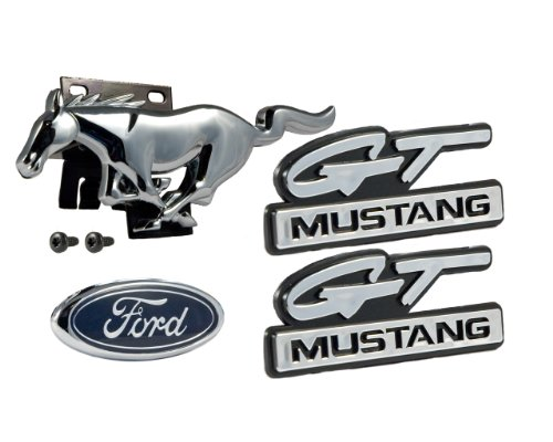 (1994-1995 Mustang GT 5.0L 4pc Emblems Front Grille Running Horse, Fender & Blue Oval Trunk Emblems)