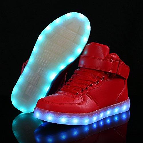 SAGUARO Herren Damen LED Sport Schuhe 7 Farbwechsel USB Leuchtend Sportschuhe Sneaker Turnschuhe Hoch rot
