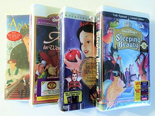(Disney 4 Princess VHS Tape Set - Sleeping Beauty, Anastasia, Snow White, & Alice in Wonderland)