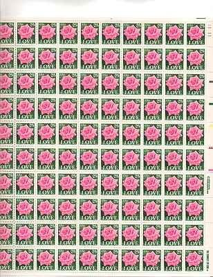 LOVE Pink Rose Sheet of 100 x 25 Cent US Postage Stamps NEW Scot 2378