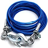 Stainless Steel Wire Tow Rope with 5 Ton (10mm*4mtr) Capacity Emergency Tow Cable with Self Locking Hook (Blue) for Maruti Suzuki Omni