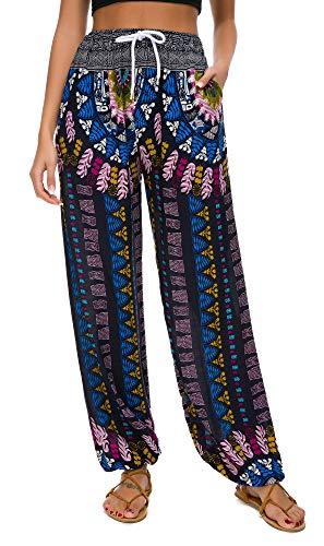 Urban CoCo Women's Floral Print Boho Yoga Pants Harem Pants Jogger Pants (#18, XL)