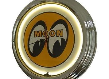 Amazonde Neon Uhr Moon Eyes Wanduhr Deko Uhr Leuchtuhr Usa 50s