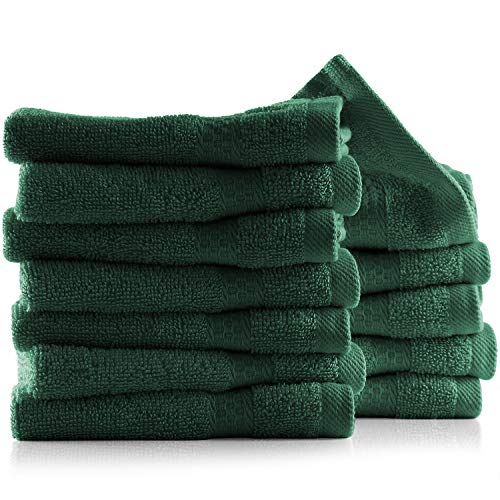 Hearth & Harbor 100% Cotton Set – Ultra Soft & Highly Absorbent Beach, Spa & Bathroom Body Shower Towels, 12 washcloths…