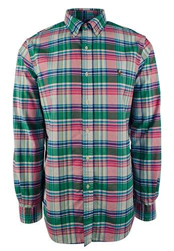 Polo Ralph Lauren Oxford Plaid Button Down L/S Shirt Green/Pink - Plaid Lauren Ralph Polo