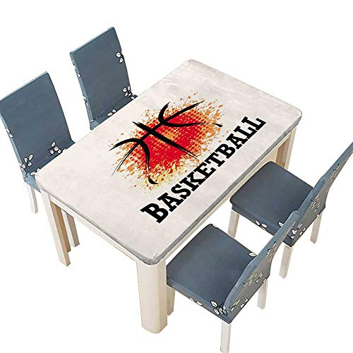 PINAFORE Table in Washable Polyeste Basketball t-Shirt Banner backdrops Design Banquet Wedding Party Restaurant Tablecloth W53 x L92.5 INCH (Elastic Edge)