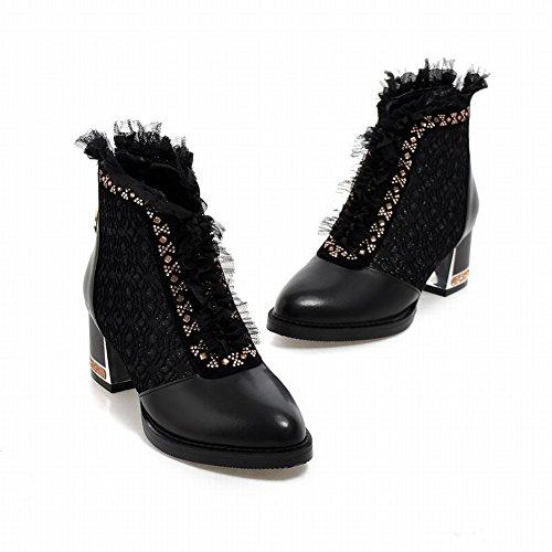 Charme Voet Mode Kanten Dames Dikke Enkellaarzen Laarzen Zwart