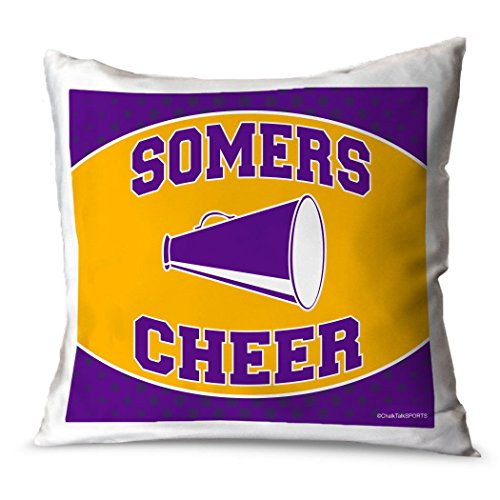 (ChalkTalkSPORTS Personalized Cheerleading Throw Pillow | Team Megaphone | PURPLE-YELLOW |)