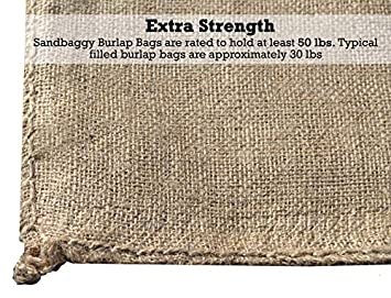 Sandbaggy Burlap Sand Bag – Size 14 x 26 – Sandbags 50lb Weight Capacity – Sandbags for Flooding – Sand Bag – Flood Water Barrier – Water Curb – Tent Sandbags – Store Bags 10 Bags
