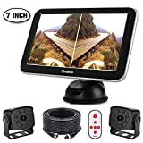 Backup Camera with Monitor Kit for RV, Van, Truck, with Split Monitor, 2 x 175 Degree Wide View HD Small IR Rear View Cams IP68 Waterproof for Bus, Campers, 5th Wheel, Motorhome