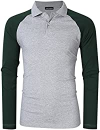 "<span class=""a-offscreen"">[Sponsored]</span>Men's Casual Shirts Crew Neck 2 Button Raglan Long Sleeve Polo T-Shirts"