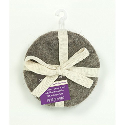 Dimensions Round Grey Wool Coaster Set Needle Felting Kit, 4 pcs 4'' x -