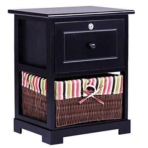 Giantex 2 Tiers Nightstand End Table Wood Home Furniture Sofa Side Bedside Storage Organizer W/Basket Lockable Drawer (1, (Lockable Drawer)