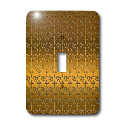 - 3dRose lsp_35988_1 Small Gold Entwined Hearts and Cross On A Bright Brass Background. Single Toggle Switch