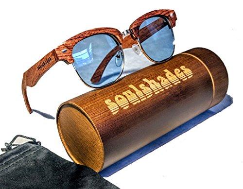 Semi-Rimless Wood Sunglasses for Women and Men - Real Zebra Wood, Polarized Blue Lenses with Bamboo Wood Case, Polyfiber Cloth & Pouch, Classic Retro / Vintage Wayfarer Style, Handmade - And Sunglasses Hard Wood Wayfarer
