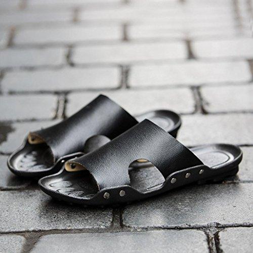 Inkach Mens Sandali Estivi - Pantofole Da Bagno Moda Infradito Sandali Casual Scarpe Da Spiaggia Piatte Nere