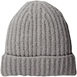 French Connection Women's Cashmere Feel Ribbed Beanie, Grey Melange, O/S
