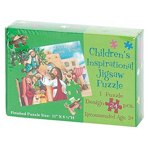 Dicksons Zacchaeus Sees Jesus 11 x 8 Cardboard 24 Piece Childrens Puzzle and Devotion (Childrens Religious Puzzles)