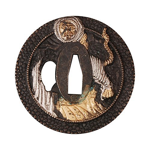 Shijian Alloy Tsuba Plated Lion For Japanese Samurai Swords