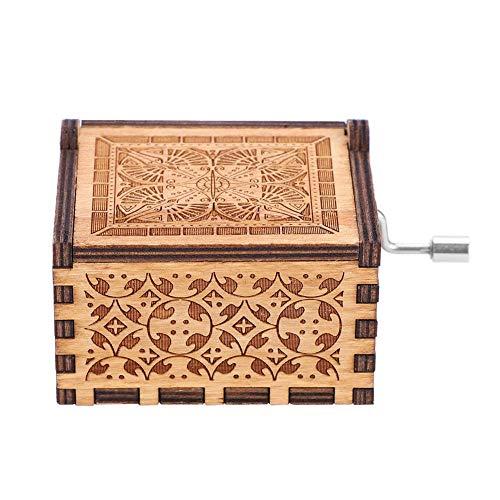 Caja de música, caja de música de manivela de madera Caja de música de madera tallada Caja de música de tema Caja de...