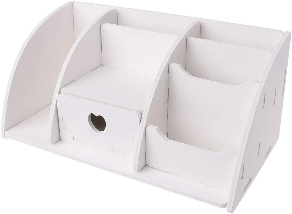KINTRADE Blanco Grande de Madera Tipo de cajón del Panel de plástico Caja de Almacenamiento de Escritorio Caja de Acabado cosmético 6 compartimientos Suministros de Oficina: Amazon.es: Hogar