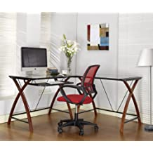 King's Brand Ho2127 Workstation Corner Computer Desk with Glass Top, Black and Cherry Finish