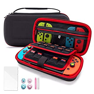 VENLING Carrying Case for Nintendo Switch, Portable Traveler Protective Cover with 19 Game Card Cartridges & 2 SD Card Slots, Storage Carry Pouch with 4 Joystick caps & 1 Screen Protector, Black
