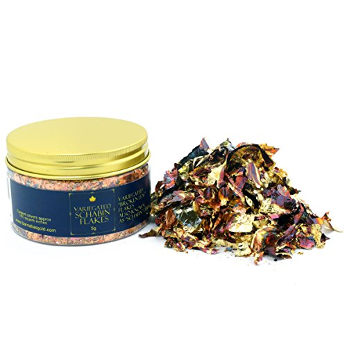 Variegated Imitation Gold Leaf Schabin Flakes Metallic Foil Flakes for Gilding, Painting Arts and Crafts (10oz jar) ()