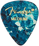 Fender 351 Shape Classic Medium Celluloid Picks, 12 Pack, Ocean Turquoise for electric guitar, acoustic guitar, mandolin, and bass