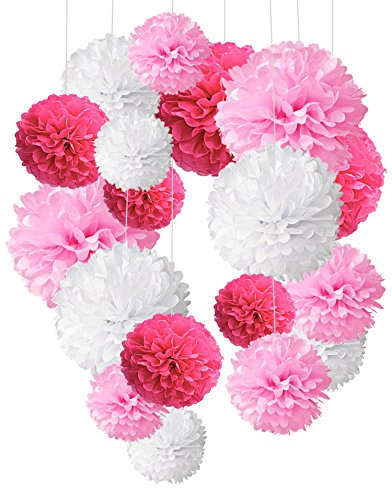 Tissue Paper Pom Poms, Recosis Paper Flower Ball for Birthday Party Wedding Baby Shower Bridal Shower Festival Decorations, 18 Pcs - Rose Red, Pink and White (Decorations White Ceiling Wedding)