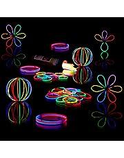 Relaxdays 100 glowsticks incl. 104 x 3D-connectoren, 8 uur verlichtingsduur, glow stick, lichtstaven professionele kwaliteit, 7-kleurenmix