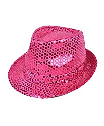 Solid Fuschia Color Sequins Fedora Hat