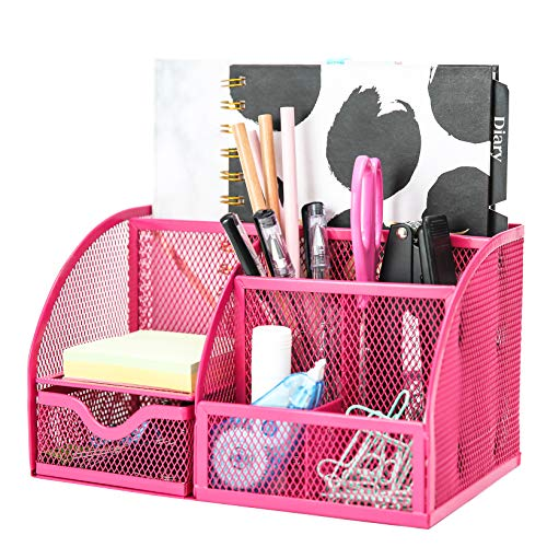 Exerz Mesh Desk Organizer Office with 6 Compartments + Drawer/Desk Tidy Candy/Pen Holder/Multifunctional Organizer EX348 Pink