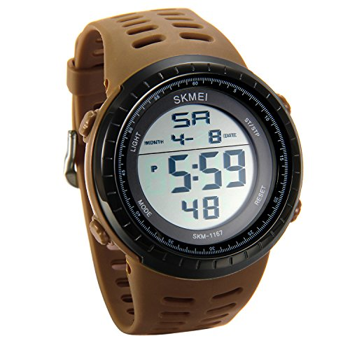 Men's Sport Digital Watch 5ATM Water Resistant Alarm Calendar Week Backlight Chronograph LED Electronic Outdoor Watcheswith Brown Adjustable Band