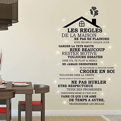 Wallflexi Wall Stickers Swarovski Crystals And Rooftop House Rules In French Home Decoration Café Restaurant Hotel Nursery Décor 90 X 30 0 14000000000000001 Cm Amazon In Home Kitchen