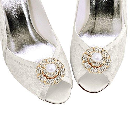 ElegantPark 2 Pcs Clips de Zapatos Perlas Rhinestones Floral Boda Fiesta Decoración AZ Oro
