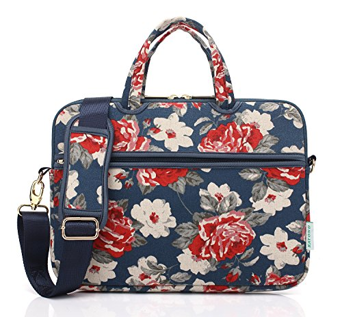 kayond Blue Rose Canvas Fabric 14.1 inch Shoulder Bag